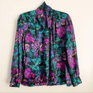 Oscar De La Renta• floral abstract button up top
